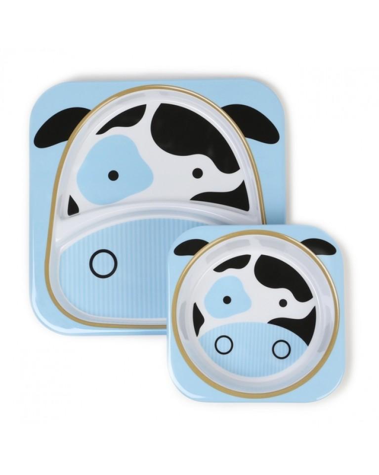 skip hop zestaw talerz miseczka krowa