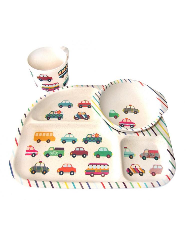 bimbamboo zestaw obiadowy auta