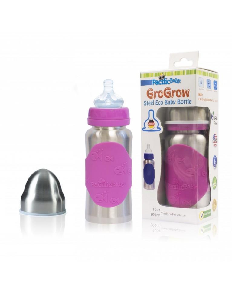 butelka ze smoczkiem pacificbaby silver pink