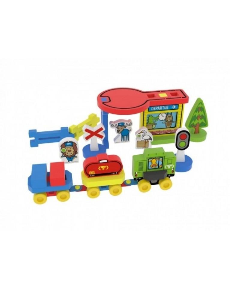 Milla Minis My first Train Station piankowe klocki sensoryczne duży zestaw - box