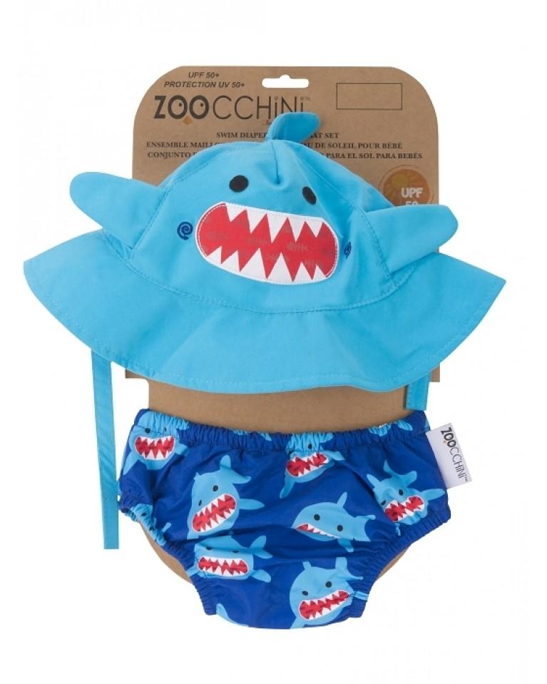 zestaw czapeczka i pieluszka kąpielowa rekin