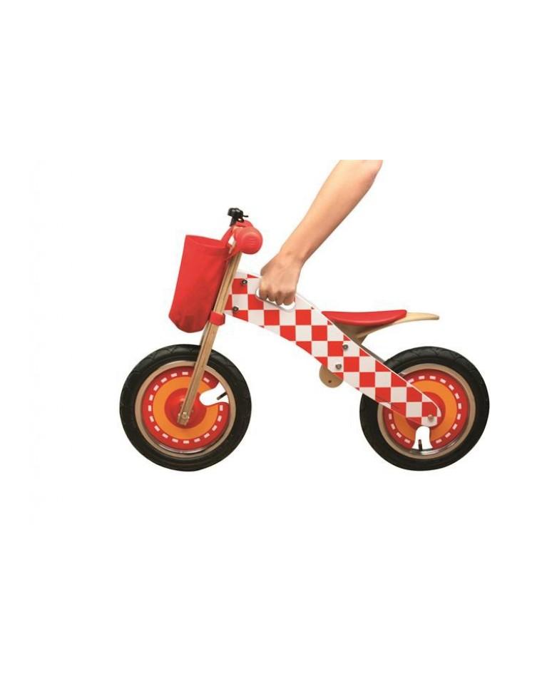 drewniany rowerek biegowy czerwony
