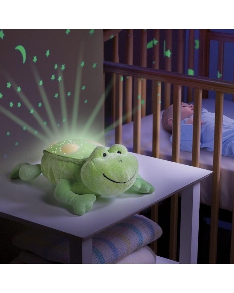 projektor żabka emitujący gwiazdki na suficie