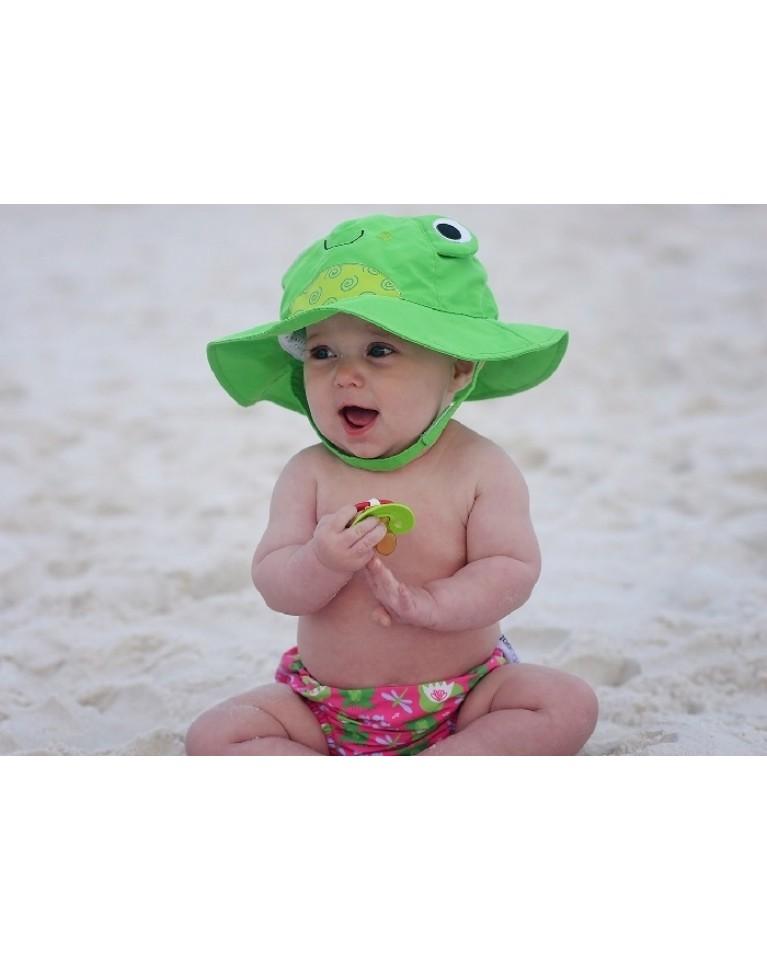 ludi zestaw na plażę czapeczka i pieluszka wielorazowa żabka